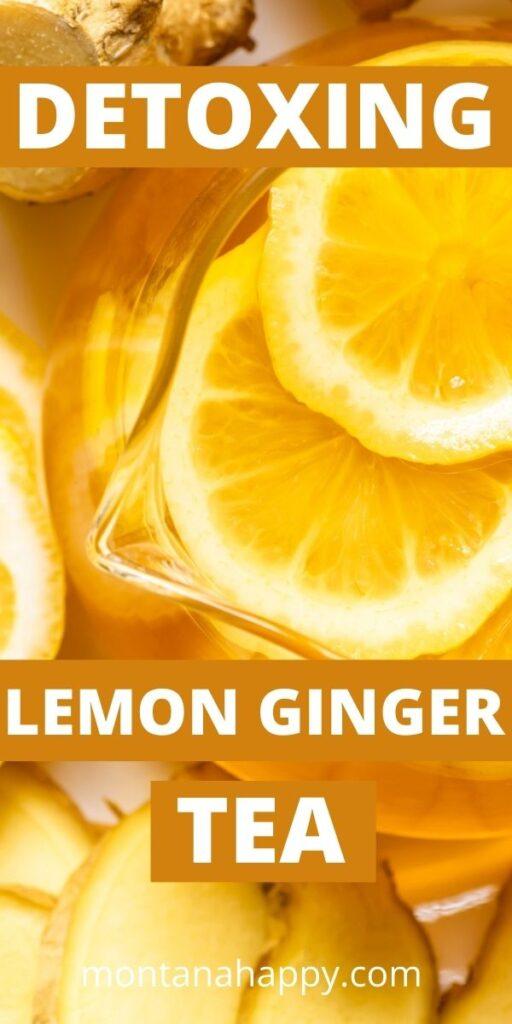 Pin for Pinterest Clear Teapot with sliced lemons and Ginger - Lemon Ginger Tea