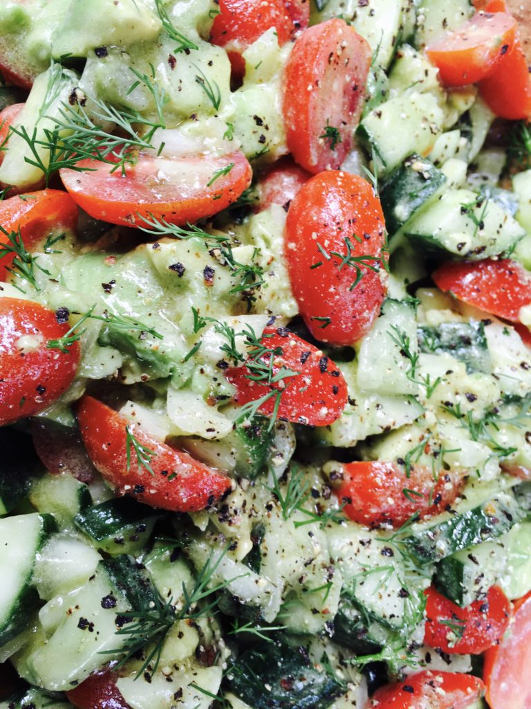 Avocado Tomato Cucumber Salad with Red Wine Vinaigrette