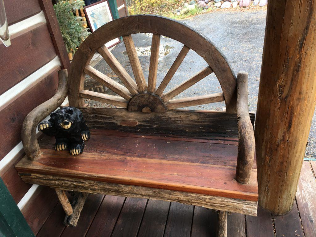 Rustic Wagon Wheel Bench in Whitefish Montana