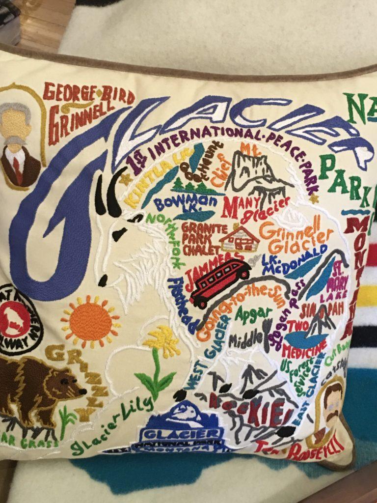 Glacier National Park Embroidered Pillow @montanahappy.com