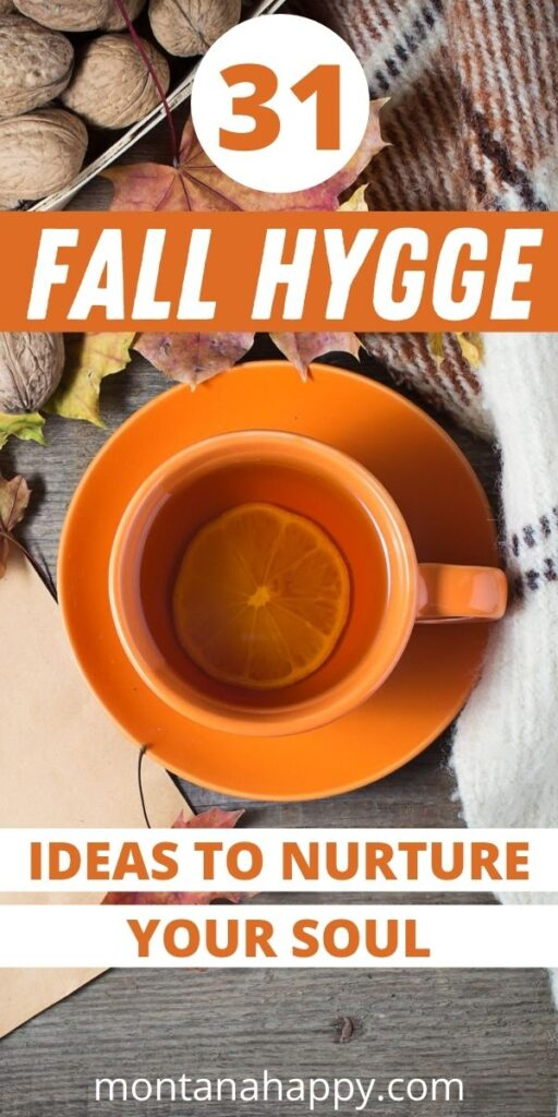 Fall Hygge Picture Tea, Leaves, Sweater - Pin for Pinterest