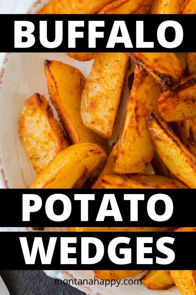 Roasted Buffalo Potato Wedges Pin for Pinterest