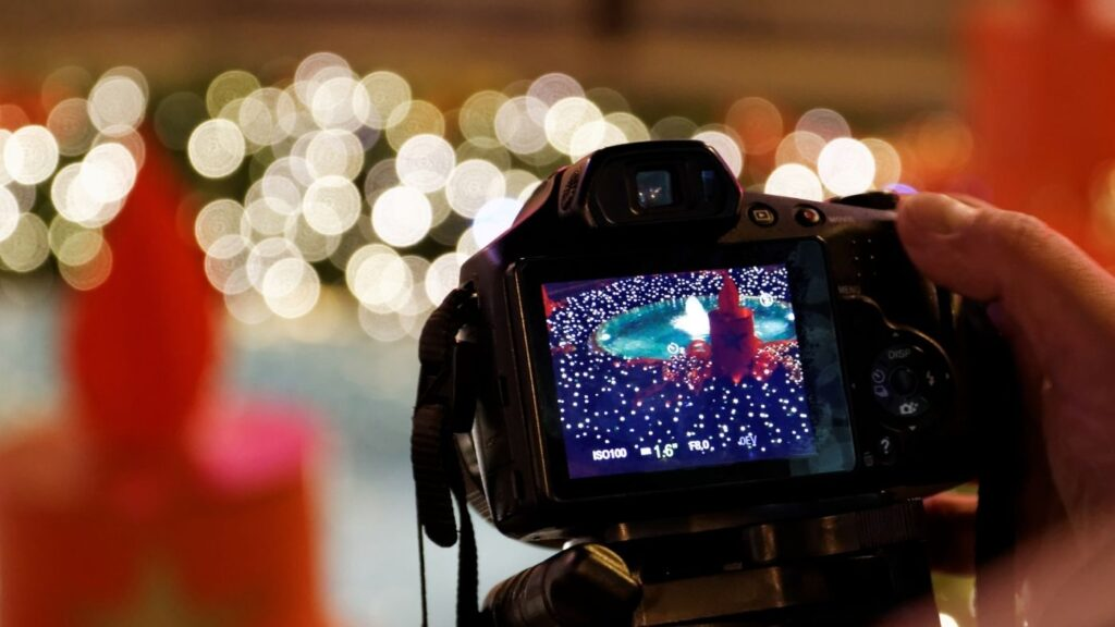 31 Day Hygge Christmas Photo Challenge -  looking through the camera at a Christmas tree
