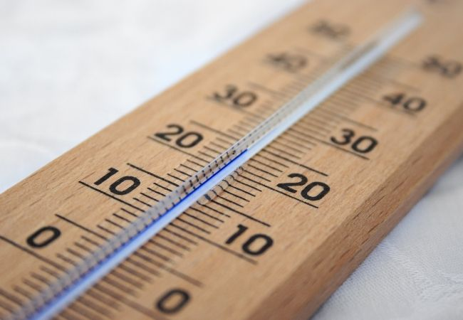 Close-up of a wood thermometer