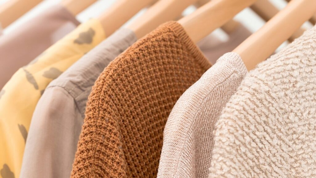 Organized Clothes Closet with Muted Colors