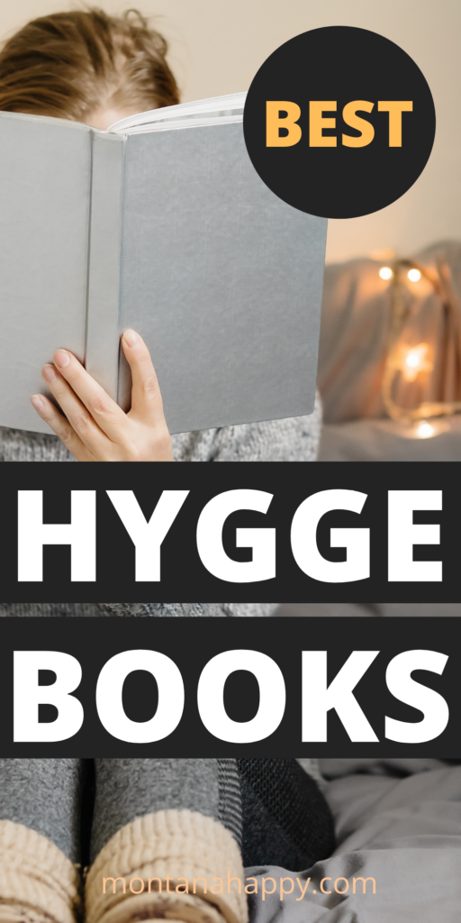 Best Hygge Books to Read - Woman with book in front of her face on her bed with fairy lights.  Pin for Pinterest