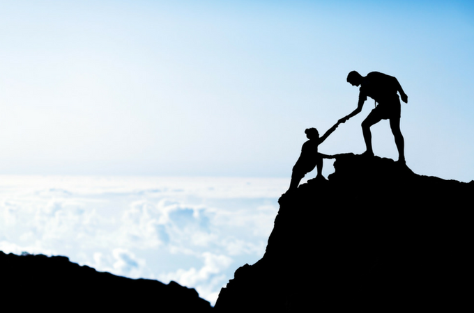 Short Inspirational Quotes to Memorize - Woman Climbing mountain and man pulling her up .