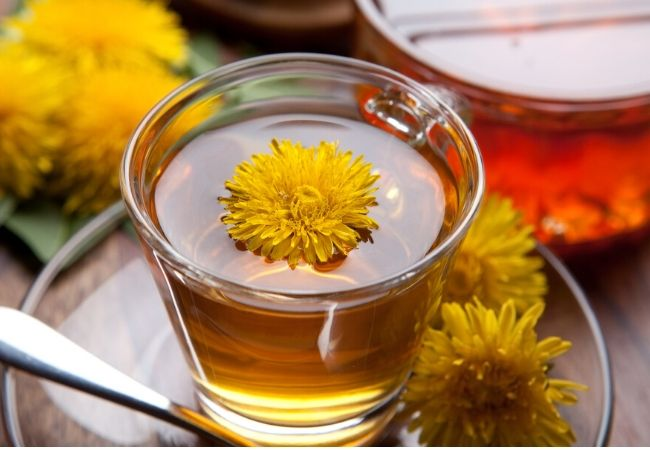 Hot dandelion tea from tea garden