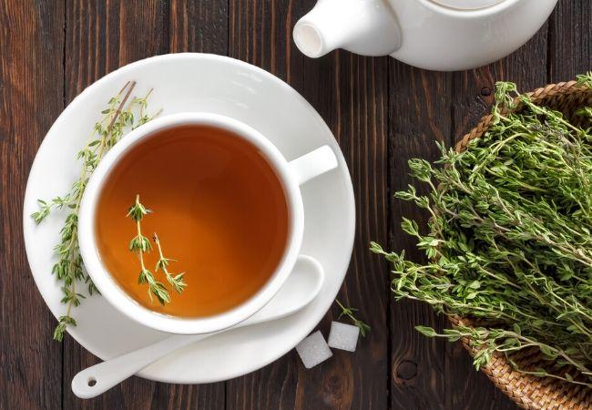 Hot thyme tea from a tea garden