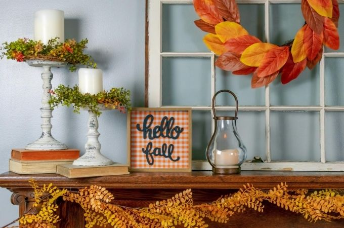 Fireplace Mantle Decorated for Fall