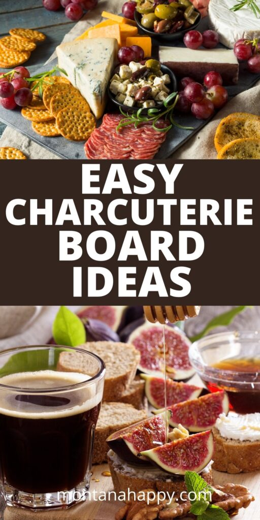 Easy Charcuterie Board Ideas - top picture a variety of cheese and bottom picture figs with honey