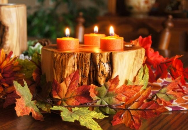 Fall Candles Decorating a Table