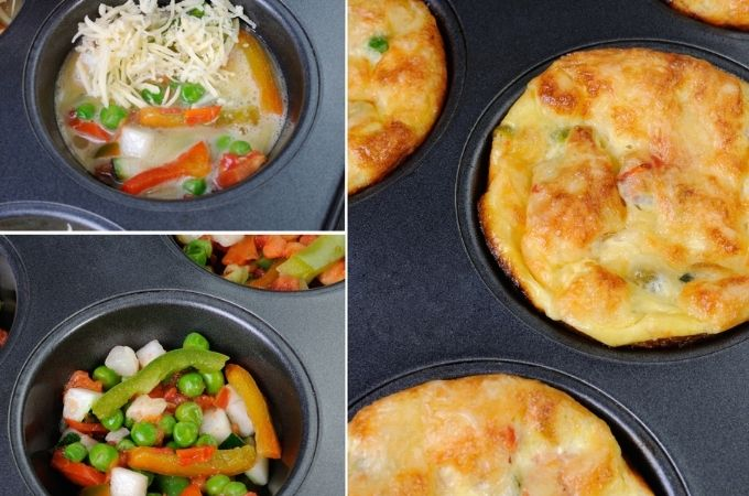 Split photo showing muffin cups with sautéed vegetables in muffin cups and cooked egg muffins