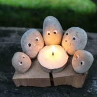 Camping Rock Craft - Tealight Candle Campfire Family