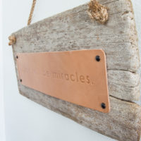 Rustic Hanging Leather and Driftwood Sign