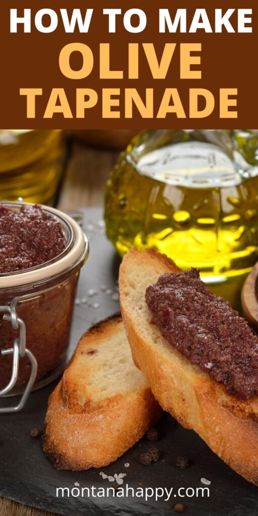 Ingredients for How to Make Olive Tapenade on slate board with crostini with tapenade