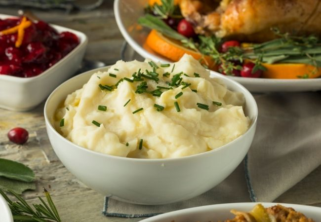 Mashed Potatoes topped with minced chive leaves