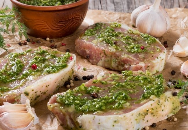 Use leftover pesto as a marinade for meat