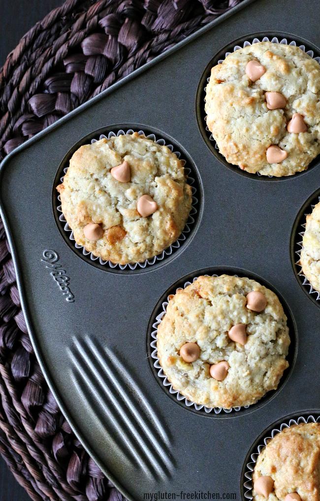 Gluten-free Banana Butterscotch Oat Muffins