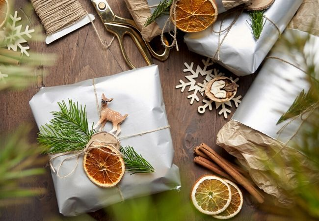 Christmas Packages Topped with Orange Slices