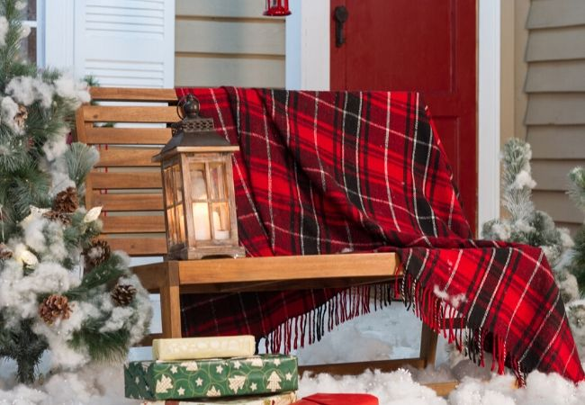 Christmas plaid wool blanket
