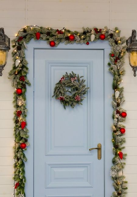Inexpensive Christmas Decorations Garland Around the Door
