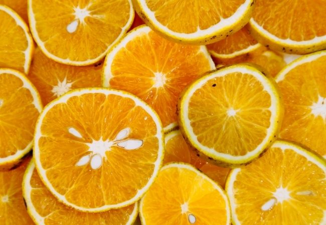 Slices of Oranges layered on top of each other