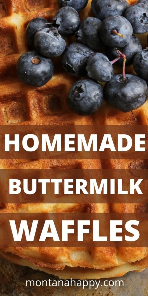 Close up buttermilk waffles and fresh blueberries Pin for Pinterest