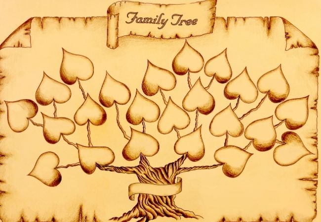 Drawing of a family tree with leaves shaped like hearts