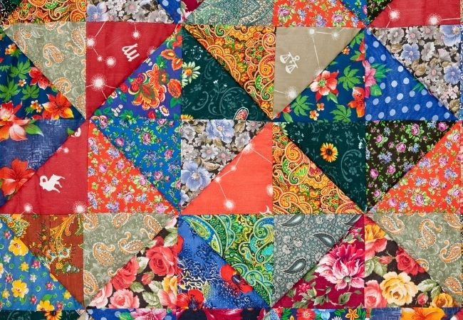 Close-up of quilt with colorful fabric