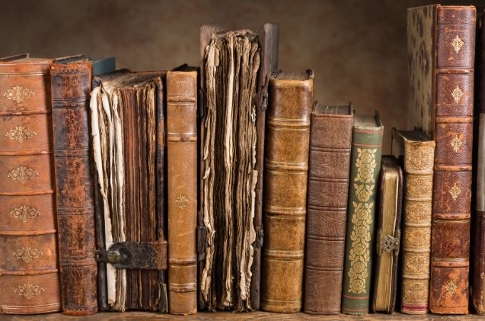 Book Lover Quotes - Antique brown toned books on a shelf