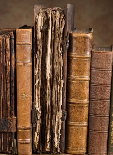Book Lover Quotes - Antique leather books lined up on a bookshelf