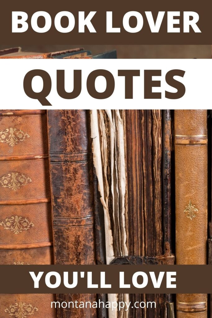 Book Lover Quotes You'll Love text overlay on Pin for Pinterest of antique leather books brown toned