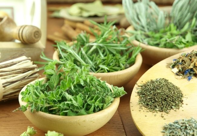 Fresh and dried herbs in bowls and on a wooden plate - save money by growing your own herbs