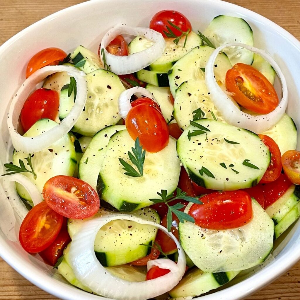 How to Make Cucumber Salad Ingredients in a White Bowl