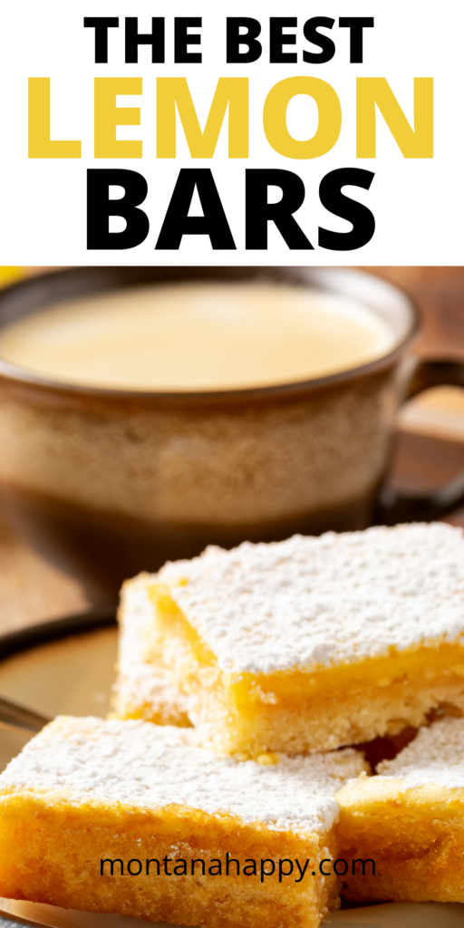 Pin for Pinterest - Close up with lemon bars and a mug of coffee