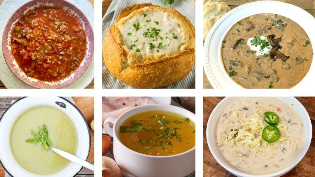 9 Best Soups Easy Recipes to try.  Six different pictures of soups.  Stuffed Pepper Soup, Clam Chowder, Hungarian Mushroom Soup, Creamy Asparagus Soup, Chicken Bone Broth, and Creamy White Chicken Chili