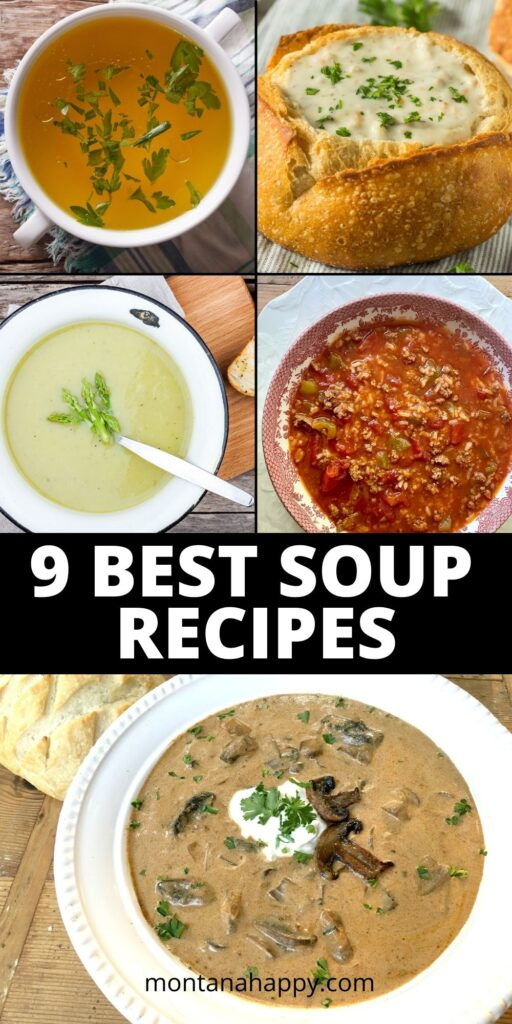 9 Best Soups Easy Recipes - Pin for Pinterest - chicken broth, clam chowder, asparagus, stuffed pepper soup, and Hungarian mushroom soup all featured.