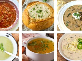 9 Best Soups Easy Recipes. Six photos of soups. Stuffed Pepper Soup, New England Clam Chowder, Hungarian Mushroom Soup, Creamy Asparagus Soup, Slow Cooker Chicken Broth, Creamy White Chicken Chili