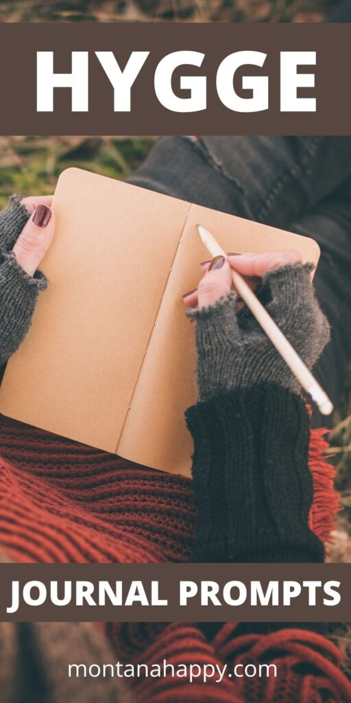Best Hygge Journal Prompts - Pin for Pinterest - Woman writing in journal outside in the fall