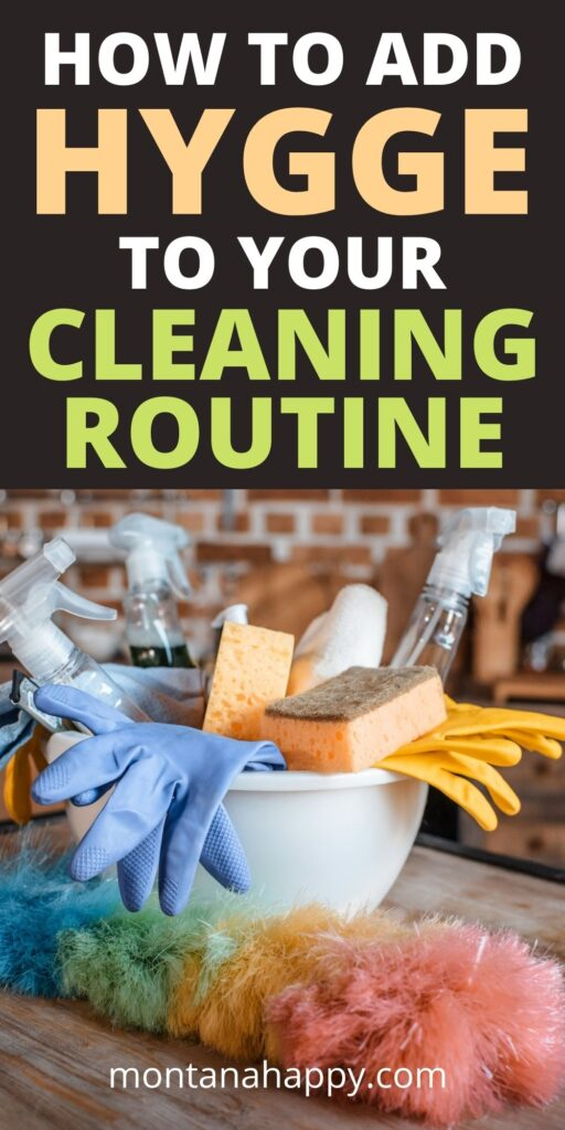 How to Add Hygge to Your Cleaning Routine Pin for Pinterest.  Bowl of cleaning supplies in a rustic kitchen.