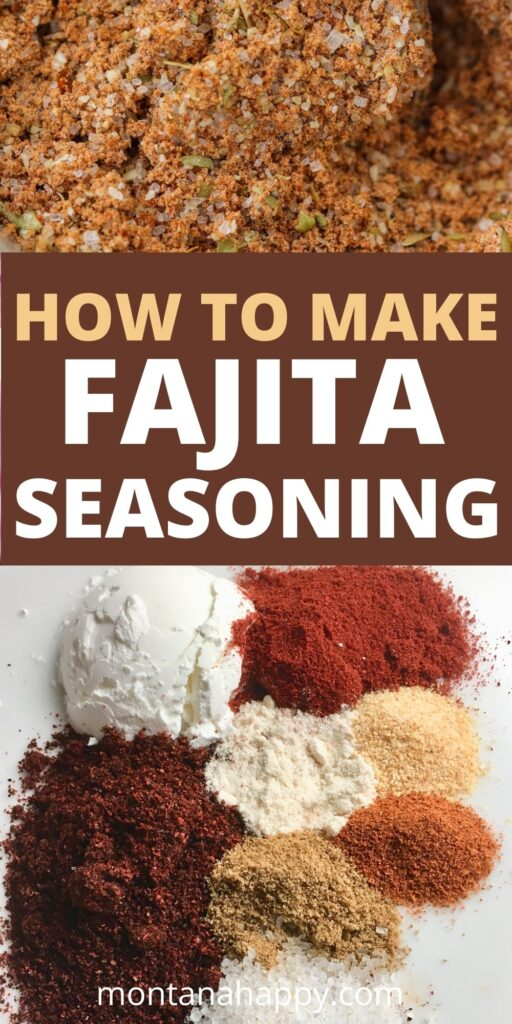 How to Make Fajita Seasoning Mix Pin for Pinterest with spoonfuls of spices and the spice mixture on top.