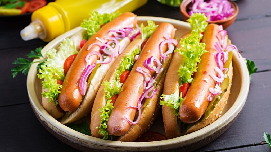 Quick Refrigerator Pickled Red Onions on hot dogs.