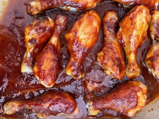 Saucy Baked Chicken Legs on Parchment Paper