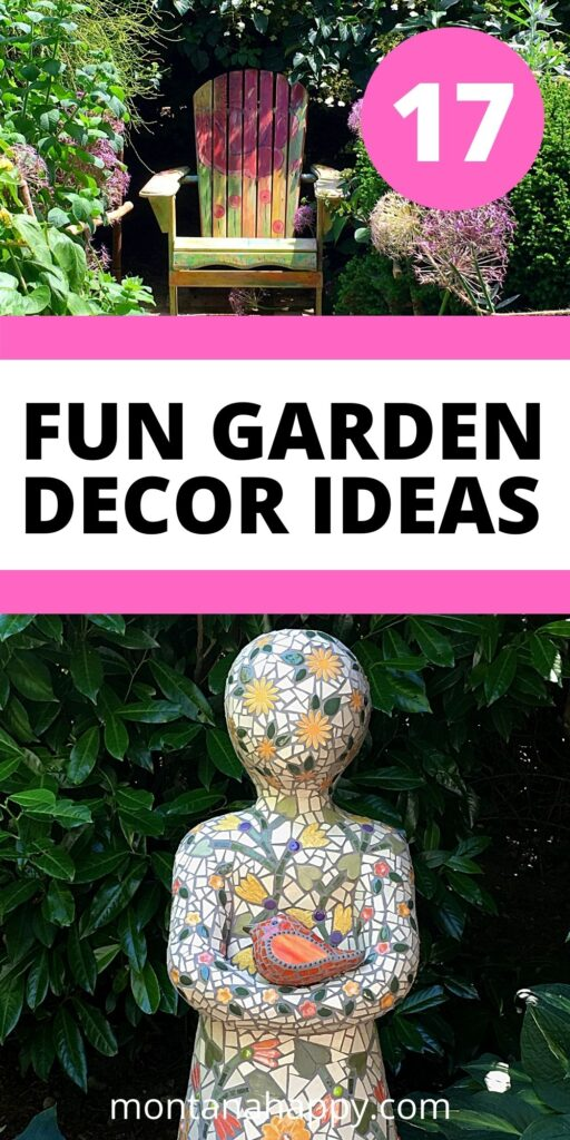 17 Fun Garden Decor Ideas - Pin for Pinterest. Top Photo is a hand painted chair surrounded by flowers.  The bottom photo is a mosaic statue with a bird in its hands.