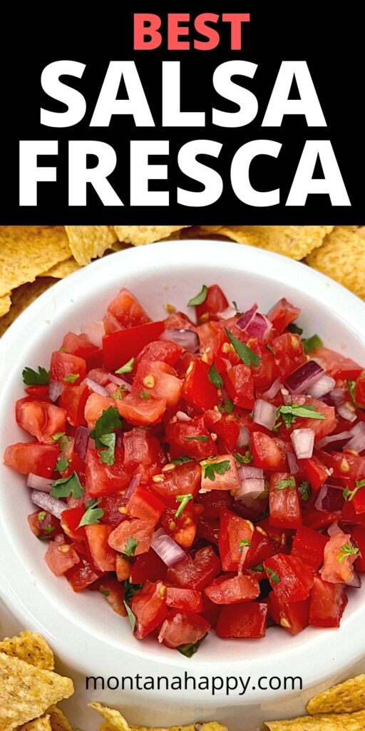 Best Salsa Fresca Recipe Pin for Pinterest - Close-up with of the Salsa Fresca