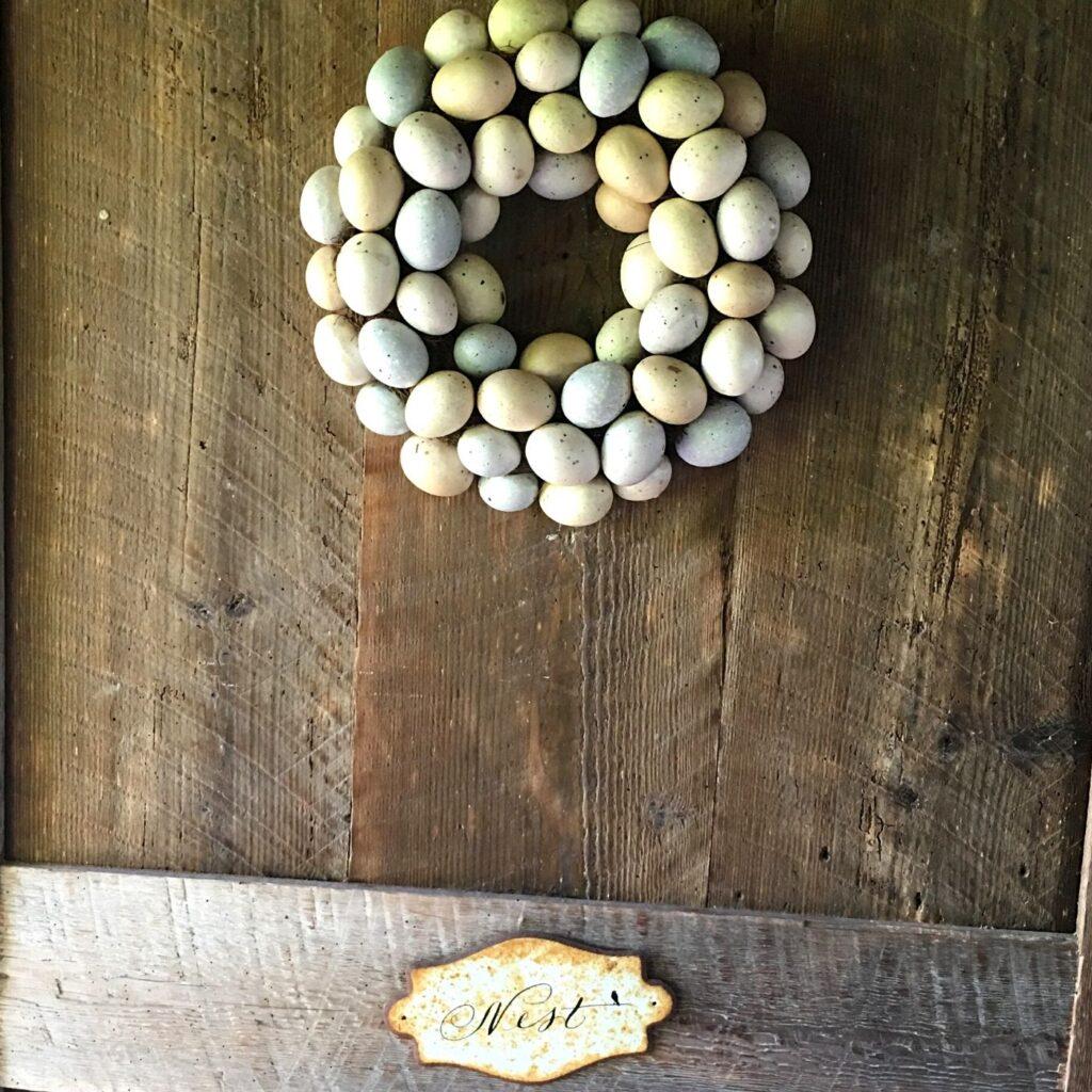 Chicken Coop Egg Wreath on a Rustic Door