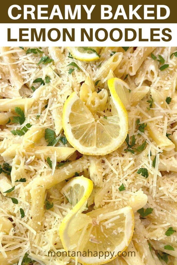 Creamy Baked Lemon Noodles Recipe Close-up photo