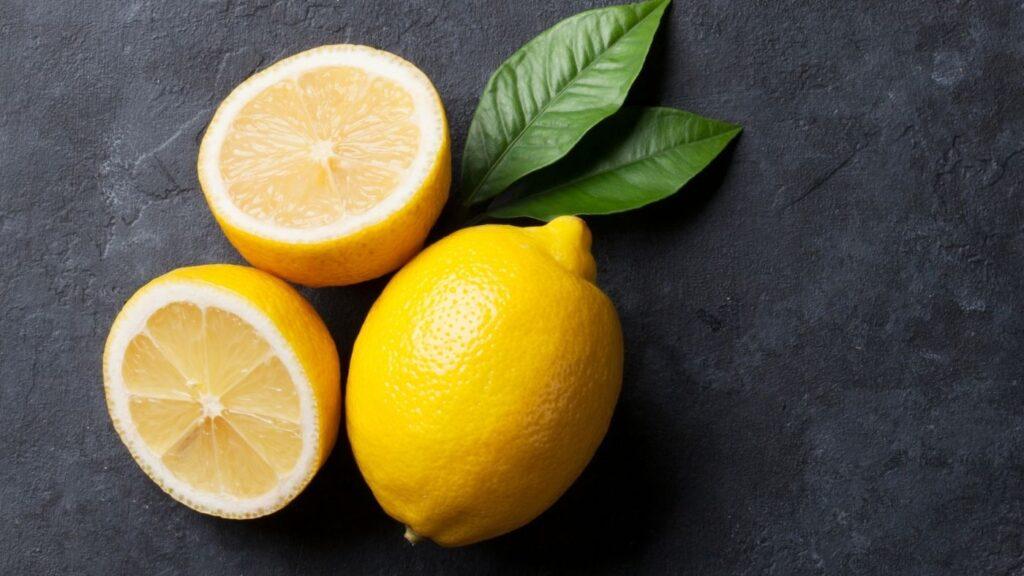 Lemon and lemon cut in half