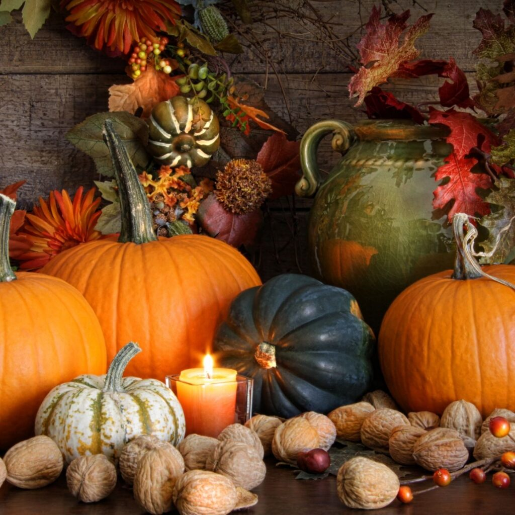 Fall Decorating with Gourds and Pumpkins and fall leaves